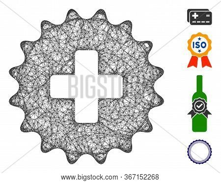 Mesh Plus Stamp Web 2d Vector Illustration. Model Is Created From Plus Stamp Flat Icon. Mesh Forms A
