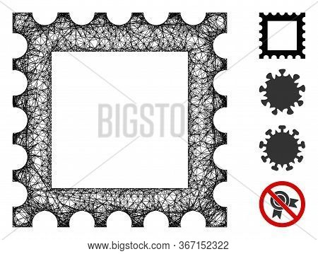 Mesh Postage Stamp Web Icon Vector Illustration. Carcass Model Is Based On Postage Stamp Flat Icon.