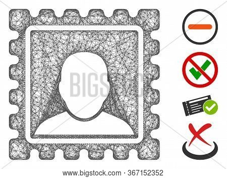 Mesh Postal Mark Web 2d Vector Illustration. Carcass Model Is Based On Postal Mark Flat Icon. Mesh F