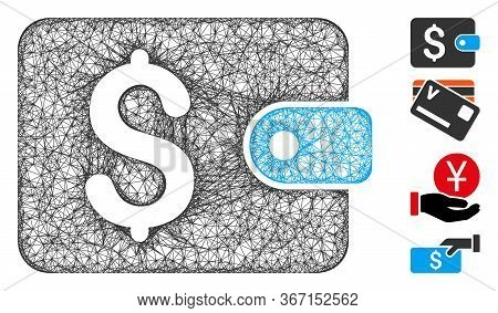 Mesh Purse Web Icon Vector Illustration. Carcass Model Is Based On Purse Flat Icon. Mesh Forms Abstr