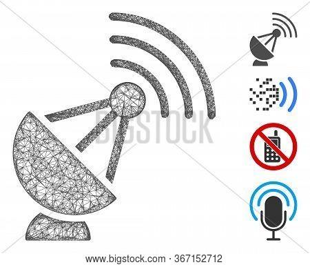 Mesh Radio Transmitter Web Icon Vector Illustration. Carcass Model Is Based On Radio Transmitter Fla