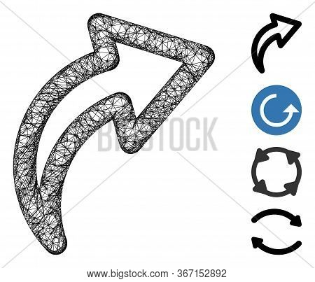Mesh Redo Web 2d Vector Illustration. Carcass Model Is Based On Redo Flat Icon. Mesh Forms Abstract