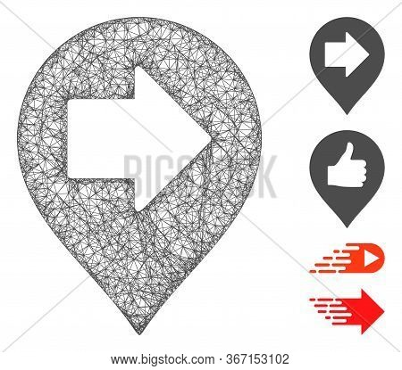 Mesh Right Arrow Marker Web Symbol Vector Illustration. Carcass Model Is Based On Right Arrow Marker