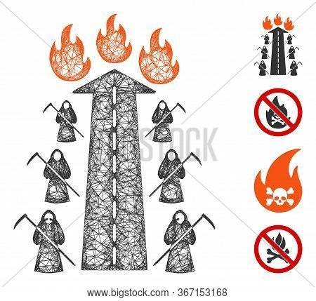 Mesh Road To Hell Fire Web Icon Vector Illustration. Model Is Based On Road To Hell Fire Flat Icon.
