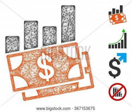 Mesh Sales Bar Chart Web Icon Vector Illustration. Model Is Created From Sales Bar Chart Flat Icon.