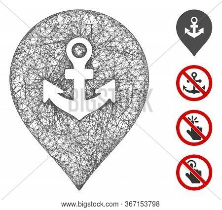 Mesh Sea Port Marker Web 2d Vector Illustration. Carcass Model Is Based On Sea Port Marker Flat Icon