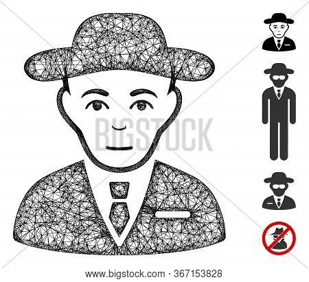 Mesh Secret Service Agent Web Symbol Vector Illustration. Carcass Model Is Based On Secret Service A