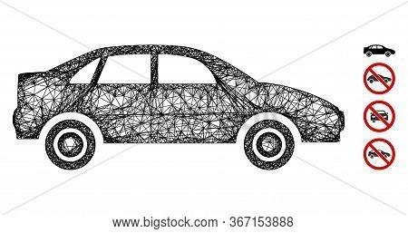 Mesh Sedan Car Web Icon Vector Illustration. Carcass Model Is Created From Sedan Car Flat Icon. Mesh