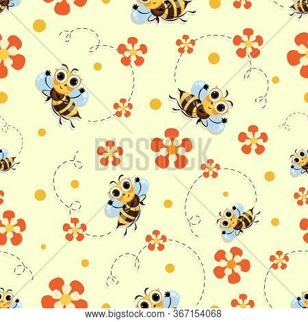 Funny Bees. Flowers. Swarm Bees Meadow. Wild Bee Fly Among The Flowers. Background, Seamless Pattern
