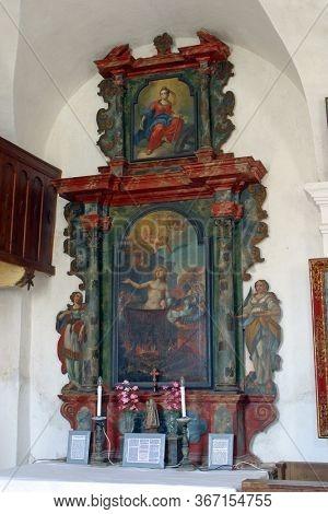 GORICA LEPOGLAVSKA, CROATIA - OCTOBER 08, 2016: The altar of Saint Vitus in the Chapel of Saint John the Baptist in Gorica Lepoglavska, Croatia