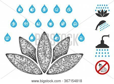 Mesh Spa Shower Web Icon Vector Illustration. Carcass Model Is Based On Spa Shower Flat Icon. Networ