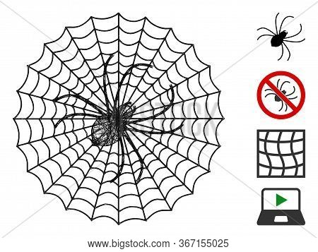 Mesh Spider Net Web Icon Vector Illustration. Carcass Model Is Based On Spider Net Flat Icon. Mesh F