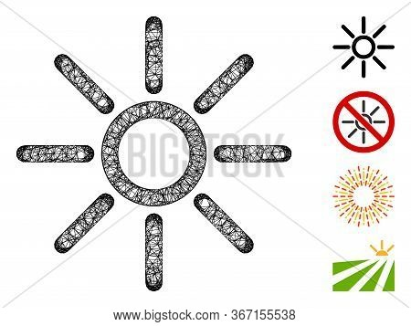 Mesh Sun Web Icon Vector Illustration. Model Is Created From Sun Flat Icon. Network Forms Abstract S
