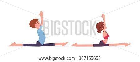 Young Yogi Man, Woman In Sport Wear Practicing Yoga, Partners Doing Monkey God Pose, Splits, Hanuman