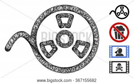 Mesh Tape Reel Web Icon Vector Illustration. Model Is Based On Tape Reel Flat Icon. Mesh Forms Abstr