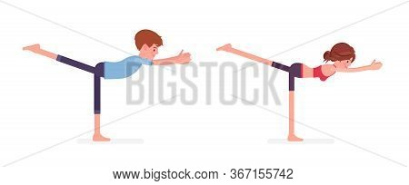 Young Yogi Man, Woman In Sport Wear Practicing Yoga, Partners Doing Warrior Three Pose, Virabhadrasa
