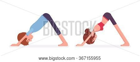 Young Yogi Man, Woman In Sports Wear Practicing Yoga, Partners In Downward Facing Dog Pose, Adho Muk