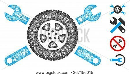 Mesh Tire Service Wrenches Web Icon Vector Illustration. Carcass Model Is Created From Tire Service