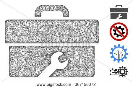 Mesh Toolbox Web 2d Vector Illustration. Abstraction Is Based On Toolbox Flat Icon. Mesh Forms Abstr