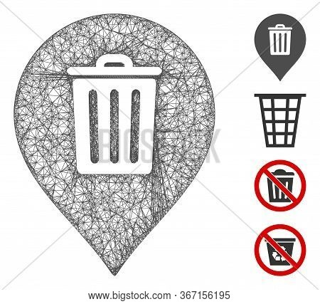 Mesh Trash Can Marker Web Symbol Vector Illustration. Carcass Model Is Based On Trash Can Marker Fla