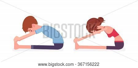 Young Yogi Man, Woman In Sports Wear Practicing Yoga, Partners Doing Seated Forward Bend Pose, Pasch