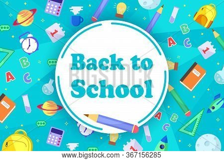 Back to school with school items and elements. vector banner design. Back to school banner, vector banner set of schoolbags, back to school concept Back to school sale banner. back to school sale banner, poster, flat design colorful, vector.