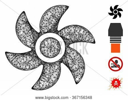 Mesh Turbine Web Symbol Vector Illustration. Carcass Model Is Created From Turbine Flat Icon. Mesh F