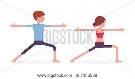 Young Yogi Man, Woman In Sports Wear Practicing Yoga, Partners Doing Warrior Two Pose, Virabhadrasan