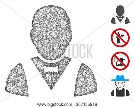 Mesh Waiter Web Symbol Vector Illustration. Model Is Based On Waiter Flat Icon. Mesh Forms Abstract