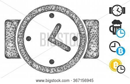 Mesh Watches Web 2d Vector Illustration. Carcass Model Is Based On Watches Flat Icon. Network Forms