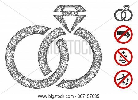 Mesh Wedding Rings With Gem Web Icon Vector Illustration. Model Is Based On Wedding Rings With Gem F