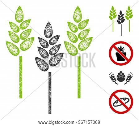 Mesh Wheat Ears Web Icon Vector Illustration. Carcass Model Is Based On Wheat Ears Flat Icon. Networ