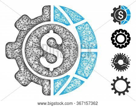 Mesh World Industry Finances Web Icon Vector Illustration. Carcass Model Is Based On World Industry