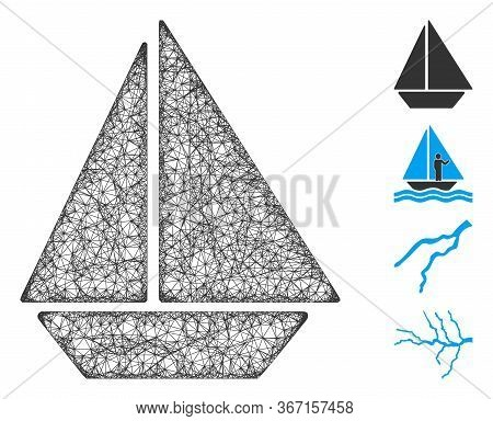 Mesh Yacht Web Icon Vector Illustration. Abstraction Is Based On Yacht Flat Icon. Mesh Forms Abstrac