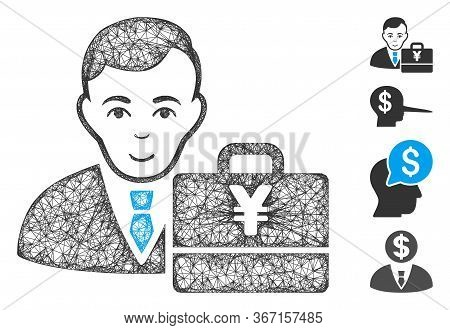 Mesh Yen Accounter Web Icon Vector Illustration. Abstraction Is Based On Yen Accounter Flat Icon. Ne