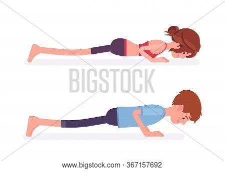 Young Yogi Man, Woman In Sports Wear Practicing Yoga, Partners Doing Push Ups Or Press Ups Pose, Cha