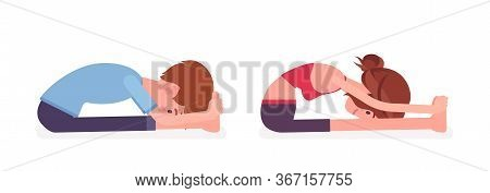Young Yogi Man, Woman In Sports Wear Practicing Yoga, Partners Doing Paschimottanasana Pose, Seated