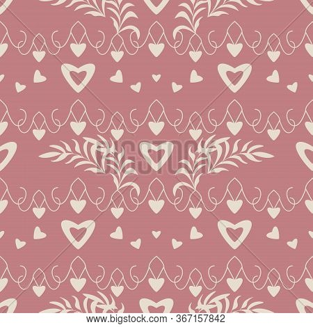 Seamless Pattern With Hearts, Little Hearts And Leaves. Color Red And Ivory Cream. Pastel Colors. Ve