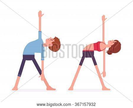 Young Yogi Man And Woman In Sports Wear Practicing Yoga, Partners Doing Utthita Trikonasana Pose, Ex