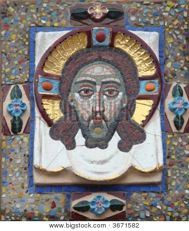 Mosaic Icon Over An Input In The Temple Of Prelate Grigory