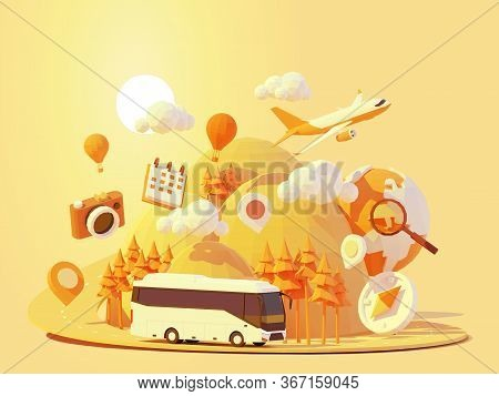 Vector Coach Bus Travel Summer Journey Illustration. Tour Bus Road Trip. Road Between Mountains With