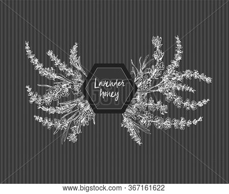 Bouquet Of Hand Drawn Sketch Of Lavender Flower And Cute Bows Isolated On Chalkboard Background. Fra