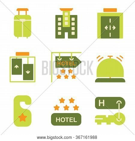 Hotel Icon Set Include Suitcase, Luggage, Bag, Travel, Hotel, Apartment, Room, Lodging, Elevator, Li