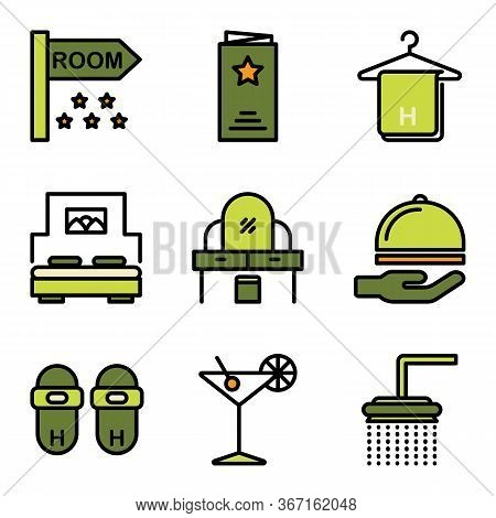 Hotel Icon Set Include Room, Hotel, Sign Board, Sign, Menu, Service, Dinner, Towel, Hanger, Bath Tow