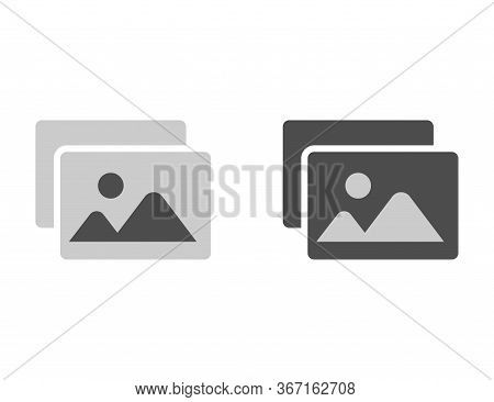 Image Silhouette Icon In Black And White. Picture Gallery File Thumbnail. Simple Pictogram Of Photo