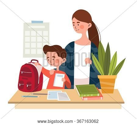 Mother And Her Young Son Packing A Backpack With His School Requirements At Home, Colored Vector Ill