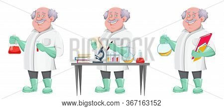 Professor Cartoon Character, Set Of Three Poses. Usable Also As Scientist, Chemist, Laboratory Assis