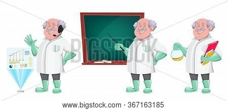 Funny Professor Cartoon Character, Set Of Three Poses. Usable Also As Scientist, Chemist, Laboratory