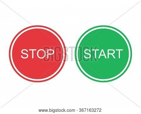 Start And Stop Buttons In Red And Green Colors. Round Power Off And On Circle. Isolated Control Shap