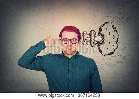 Annoyed Businessman Headshot Himself. Keeps Hand To Temple, Gun Gesture, Punching His Head. Brain Ex